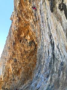 Grace (above) and Sebastian (below) warming up on Pancelinos 6b+ at Panorama Wall