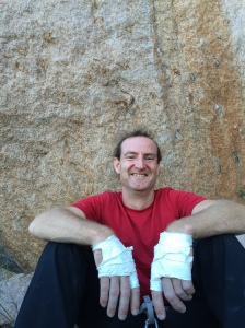 The author after a solid day crack climbing..........on top rope!?