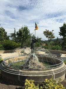 The memorial fountain in the town plaza.
