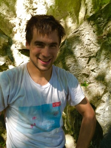Giulhem after his ascent of a tough, slabby and technical 6+...........well done mate!