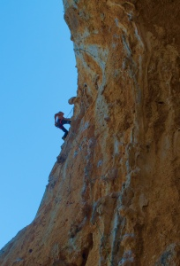 The author red-pointing Kerveros 7a on his second attempt.