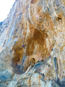 Spartacus Cave and the unknown climber on a stunning 7a.