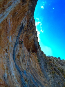 Doc sailing through the steepness on Ioli 7a.