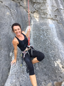 Karine after her first 6a send of the trip. Happy days indeed.